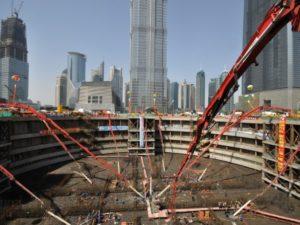 Строительство котлована для Shanghai Tower