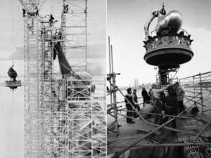 Изготовление памятника французы начинали с постройки деревянного каркас